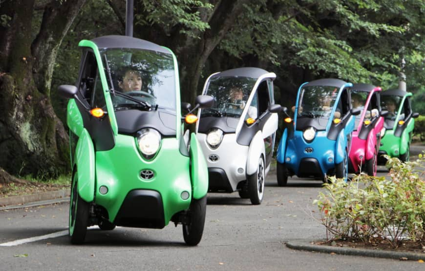 Japan ministry holds test-ride event for ultramini EVs that could help the elderly and cut accidents